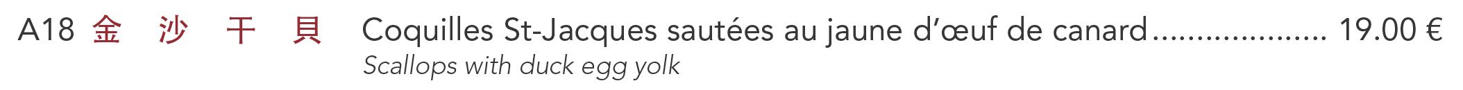 A18 - Coquilles St-Jacques sautées au jaune d'œuf de canard