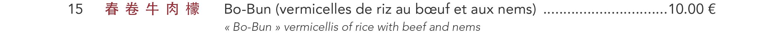 15 - Bo-Bun (vermicelles de riz au bœuf et aux nems)
